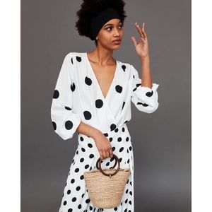 Zara Black And White Polka Dot Bodysuit Top